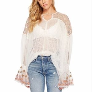 Free People Joyride Sheer Boho Tulle Top Ivory
